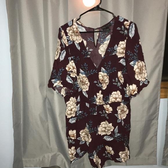 e7030c58e Forever 21 Pants | Burgundy Floral Plus Size Romper | Poshmark